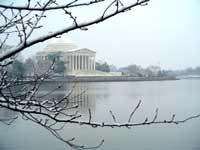 Jefferson Memorial in snow